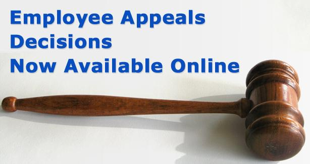 photo of gavel  with text Decisions available online
